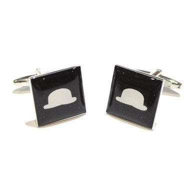 Black Square Tile with Bowler Hat Design Cufflinks