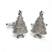 Sparkly silver coloured Christmas tree Cufflinks
