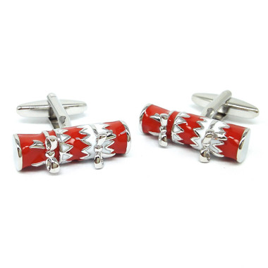 Red and White Christmas Cracker Cufflinks