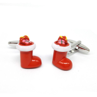 present filled red Christmas stocking Cufflinks