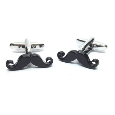 Black Curly Tipped Moustache Cufflinks