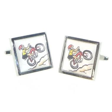 Caricature Cyclist Tile Cufflinks