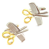 Two Tone Comb & Scissors Cufflinks