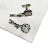 Pewter Badminton Racquets & Shuttlecocks Cufflinks