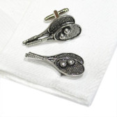 Pewter Tennis Racquets Cufflinks: perfect for  traditional double cuff (French Cuff) shirts