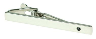Rhodium Jet Crystal Tie Bar