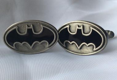 Oval Cufflinks with Batman symbol
