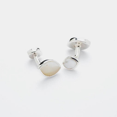 Double ended White Mother of Pearl oval shaped cufflinks