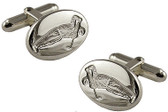 Sterling Silver Engraved Image of Golfer Cufflinks
