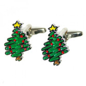 Christmas Tree Cufflinks: Artistic / Painted Design