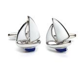 Yacht Cufflinks : white sails, blue keel