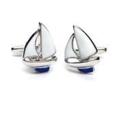 Yacht Cufflinks : white sails, blue keel