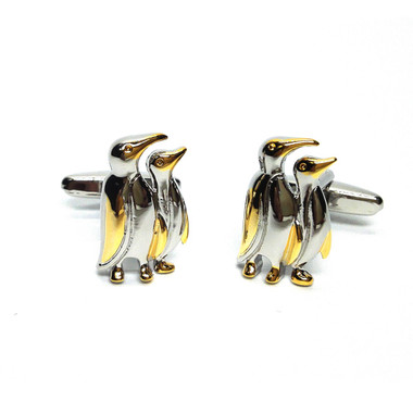 Two Tone Pair of Penguins Cufflinks