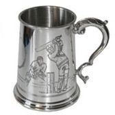 One Pint Cricket Scene Pewter Tankard