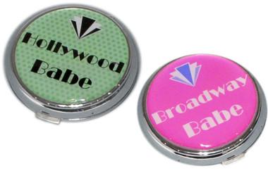 'Hollywood Babe' and 'Broadway Babe': Art Deco Style Handbag Mirror
