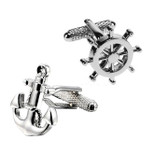 Ship's Wheel & Anchor with entwined rope Cufflinks