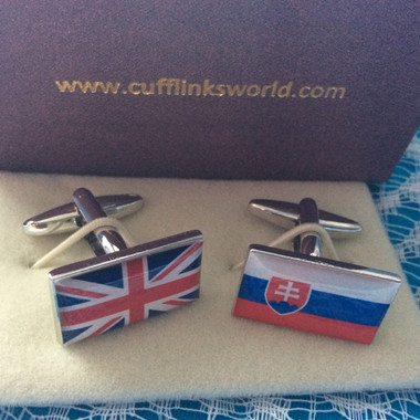 Union Jack and Slovakian Flag Cufflinks