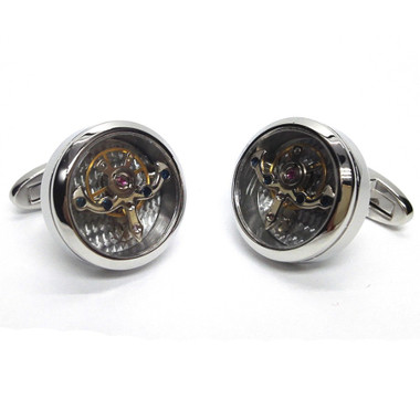 Fascinating, funky - and formal all at the same time: Steampunk encased gears cufflinks - with moving escapement!