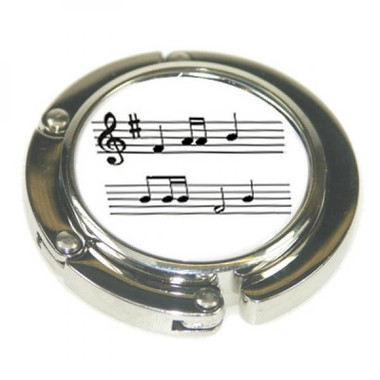 Ladies Round Handbag Hanger with Musical Notes Pattern Design