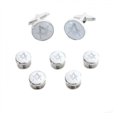 White & Silver Enamelled Masonic Cufflinks & 5 Button Stud Set