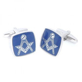Masonic Cufflinks Rhodium Plated with Blue lacquer: No G (with The Masonic Square and Compasses)
