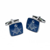 Masonic Cufflinks Rhodium Plated with Blue lacquer with The Masonic Square and Compasses featuring the letter G