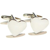 White Heart Shaped Cufflinks