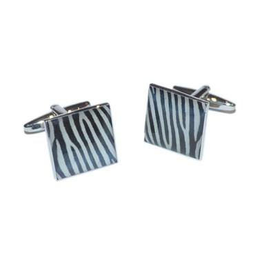 Square Black & White Zebra Stripe Cufflinks