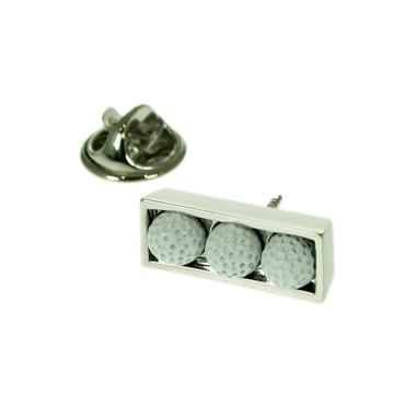 Three Golf Balls Set in chrome box Lapel Pin Badge