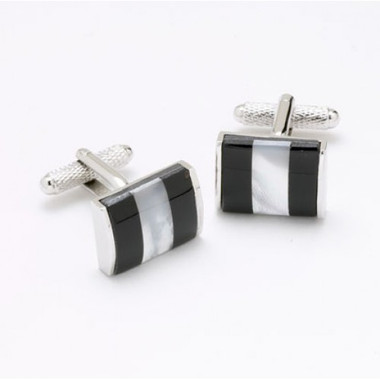 Mother of Pearl stripe with Black Onyx: rectangular Cufflinks