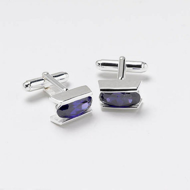 Sterling Silver Cufflinks with amethyst colour cubic zirconia