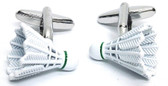 Delicate and detailed: White Badminton Shuttlecock Sports Cufflinks