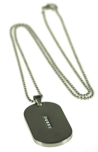 Dog Tag with clear crystals