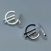 Euro Symbol Silver-Plated Chain-linked Cufflinks