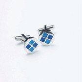 Two Tone Blue Four Square Round Cufflinks