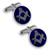 Sterling Silver Round Cufflinks with Blue Masonic design