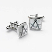 Mother of Pearl and rhodium Masonic Cufflinks