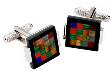Checkered MOP cufflinks