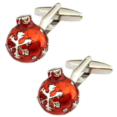 Add some sparkle and fun with these red with silver snowflake design spherical Christmas bauble cufflinks