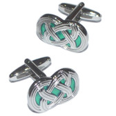 Green 'Carrick Bend' Celtic Knot Cufflinks