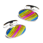 Beautiful, colourful oval : rainbow striped cufflinks