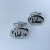 Usher Wedding Cufflinks with black writing on shiny chrome oval