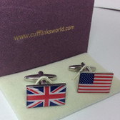 Union Jack and American Stars and Stripes Flag Cufflinks with Cufflinks Box