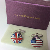 Union Jack and American Flag Round Cufflinks with Cufflinks Box