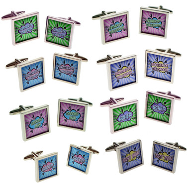 Colourful Retro Style Wedding Party Names Cufflinks: or choose your own wording for unique personal cufflinks