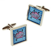 GROOM :  'Kapow' / Superhero / Comic Book Style Wedding Cufflinks