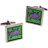 'Kapow' / Superhero / Comic Book Style Cufflinks with your choice of wording