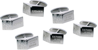 Engraved Designer Wedding Cufflinks by Sonia Spencer Father of the Groom, Father of the Bride and Usher