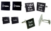 Black Square 'Tile' shaped Wedding Names Cufflinks