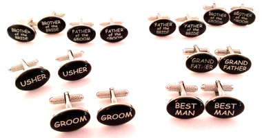 Black Oval Wedding Party Cufflinks